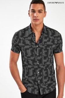 Emporio Armani Black Printed Logo Shirt