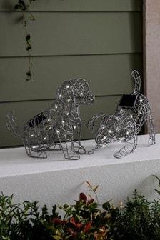 Set of 2 Solar Puppy Sculptures