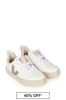 Girls White & Grey V-10 Lace Trainers