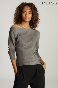 Reiss Isla Metallic Asymmetric Top