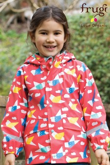 Frugi Recycled Waterproof Lined Coat, Pink Origami Birds Print