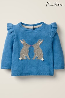 Boden Blue Frill Knitted Jumper