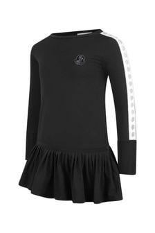 Girls Black Cotton Jersey Dress