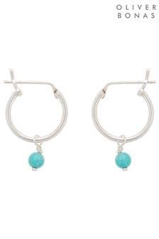 Oliver Bonas Sterling Silver Nou Hoop & Sphere Turquoise Earrings