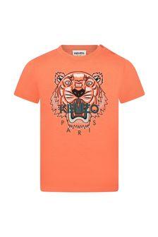 Kenzo Kids Baby Boys Orange Cotton T-Shirt