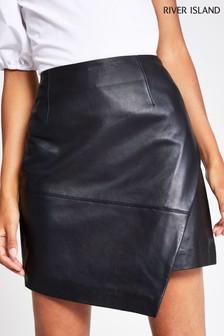 River Island Black Asymmetric Hem Mini Skirt