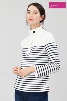 Joules Cream Saunton Casual Half Zip Sweatshirt