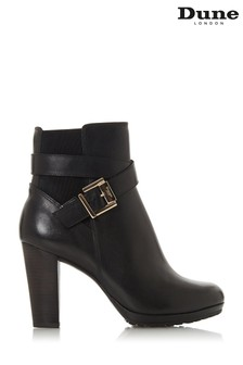 Dune London Orrion Black Leather Buckle Elastic Ankle Boots