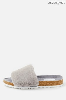 Accessorize Grey Fluffy Slider Slippers