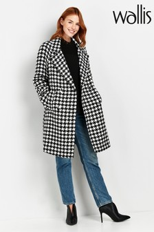Wallis Black Monochrome Check Print Coat