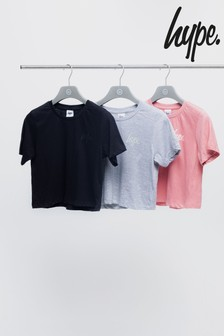 Hype. Black/Grey/Pink Crop Kids T-Shirts Three Pack