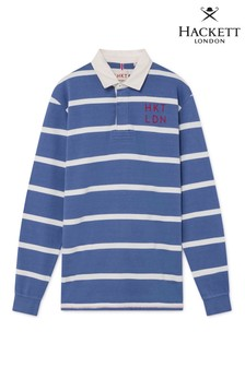 Hackett Blue Classic Fit Long Sleeve Striped Rugby Shirt