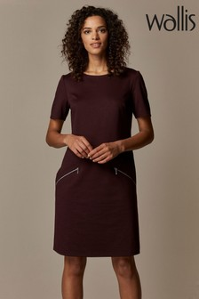 Wallis Purple Mulberry Zip Ponte Shift Dress