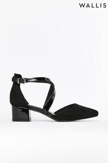 Wallis Black Cara Cross Strap Pointed Block Heel Court Shoes