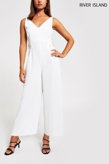 River Island White Stark Buckle Side Jumpsuit