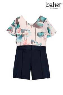 baker by Ted Baker Pink Print Frill Sleeve Mockable Playsuit