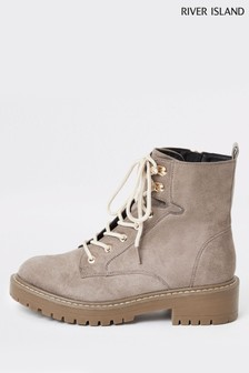 River Island Grey Quinn Chunky Lace-Up Boots