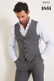 Moss 1851 Tailored Fit Grey Textured Waistcoat
