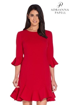 Adrianna Papell Red Knit Crepe Ruffled Shift Dress