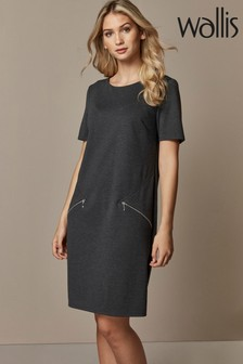 Wallis Grey Zip Ponte Shift Dress