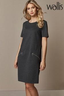 Wallis Grey Zip Ponte Shift Dress