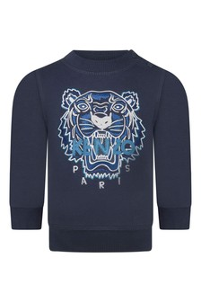 Baby Boys Navy Blue Cotton Tiger Sweater