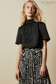Ted Baker Luniaa Frill Detail Jersey And Woven Top