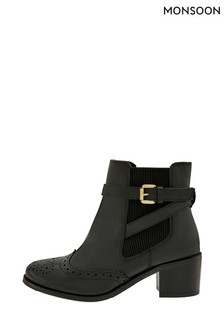Monsoon Black Beryl Brogue Buckle Leather Boots