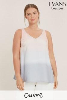 Evans Curve Pink/Grey Ombre Sparkle Vest