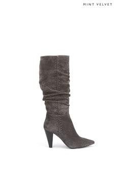 Mint Velvet Lulu Grey Suede Slouch Boots