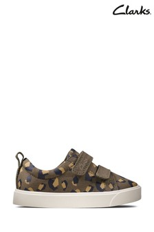 Clarks Olive Camo City Bright T Canvas Shoes