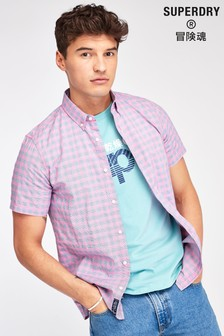 Superdry Pink Dobby Short Sleeve Shirt