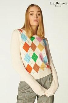 L.K.Bennett Cream Ingrid Argyle Sweater