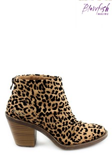 Blowfish Sahara Leopard Lagol Vegan Heeled Animal Print Ankle Boots