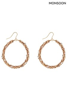 Monsoon Gold Tone Beaded Hoop Earrings