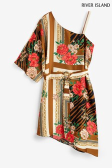 River Island Brown Scarf One Shoulder Kimono Midi Swing Dress