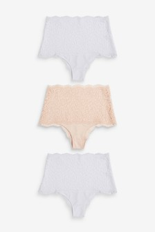 Lace High Waisted Knickers Three Pack