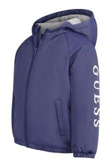 Boys Blue Hooded Logo Jacket