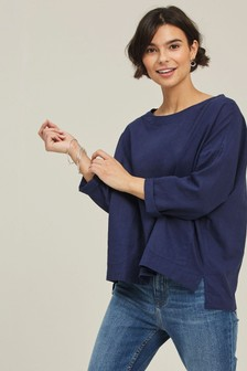 FatFace Indigo Betty Linen Blend Popover T-Shirt