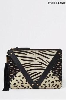 River Island Black Mix Leather Zebra Pochette Bag