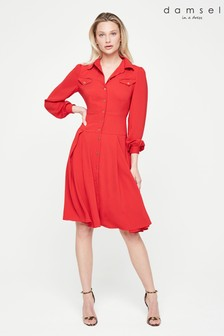 Damsel In A Dress Red Sancia Trench Dress
