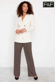 F&F Multi Fast Printed Wide Leg Trousers