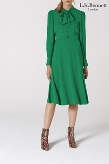 L.K.Bennett Green Mortimer Satin Back Tea Dress