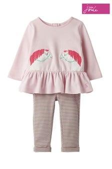 Joules Pink Olivia Appliqué Set