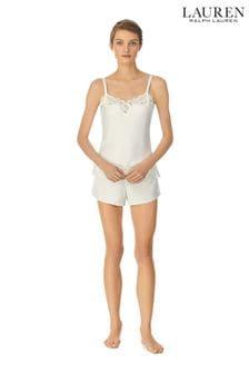 Lauren Ralph Lauren Signature Satin Double Strap Lace Camisole And Short Set