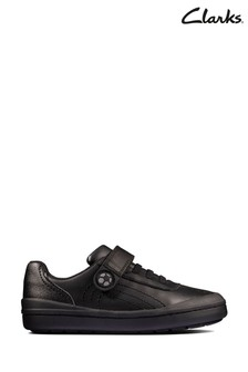 Clarks Black Leather Rock Pass Kids Shoes