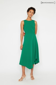 Warehouse Green Tie Back Midi Dress