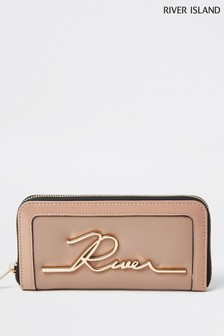 River Island Beige Handwritten Zip Around Bag