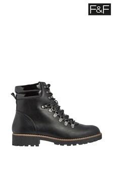 F&F Black Lace-Up Hiker Boots