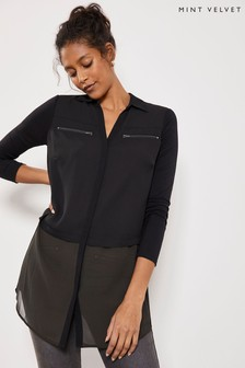 Mint Velvet Black Zip Front Blocked T-Shirt